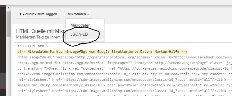 JSON LD Format bei Mikrodaten wählen