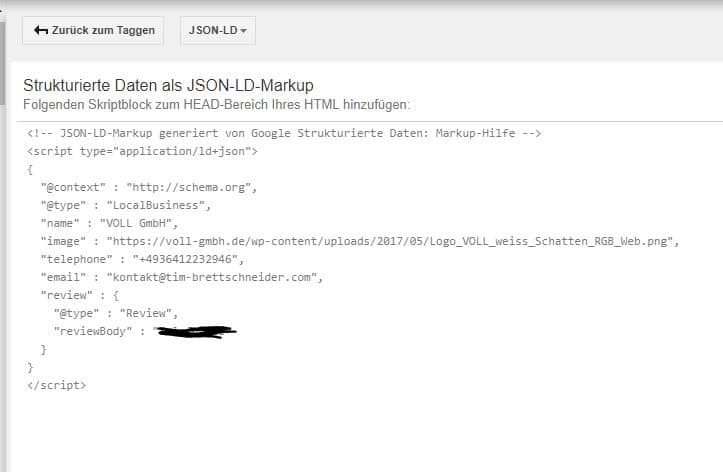 JSON LD Markup für lokale unternehmen