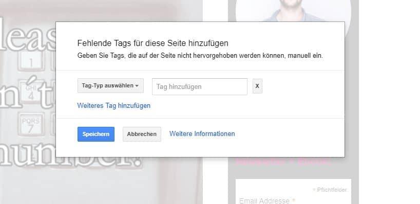 Tags manuell im Google Markup Tool einfügen