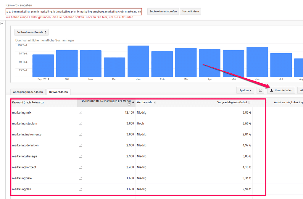 Anleitung wie man Longtailkeywords für SEO mit dem Google Keywordplanner herunterlädt