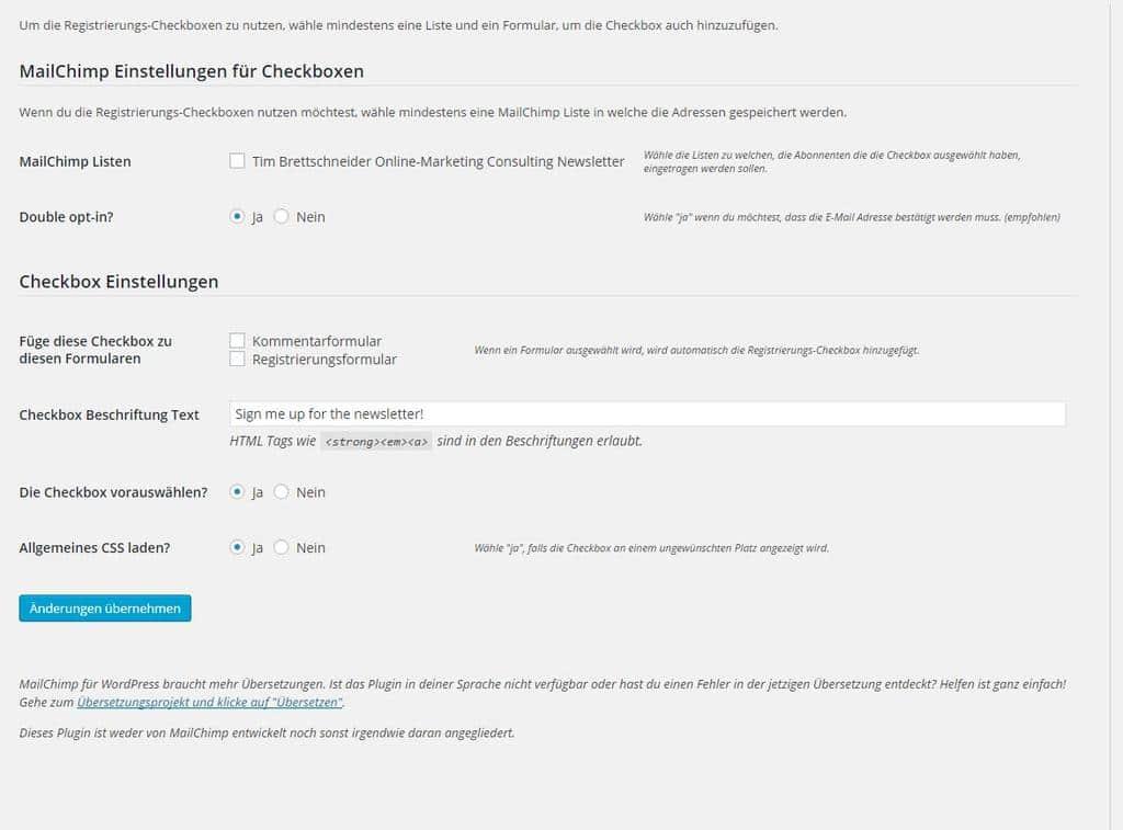 Newsletterkonfiguration mit Newsletterplugin für Wordpress