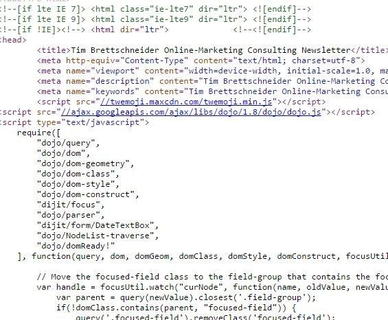 HTML Code zur Integration des Newsletters in Wordpress