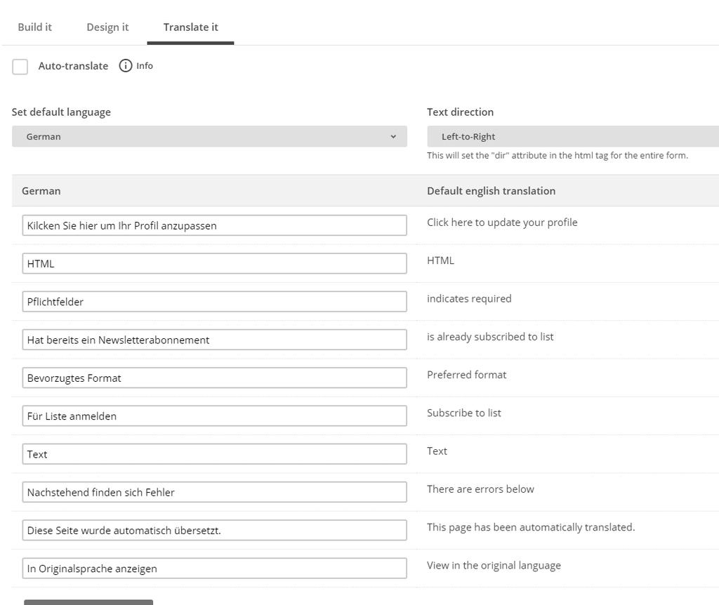 Newsletter Formular Mailchimp übersetzen