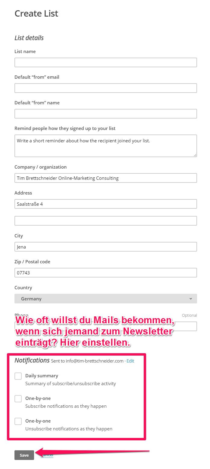 Liste in Mailchimp für Newsletter konfigurieren