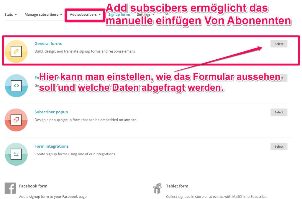 Auswahl des Newsletterformulars in Mailchimp