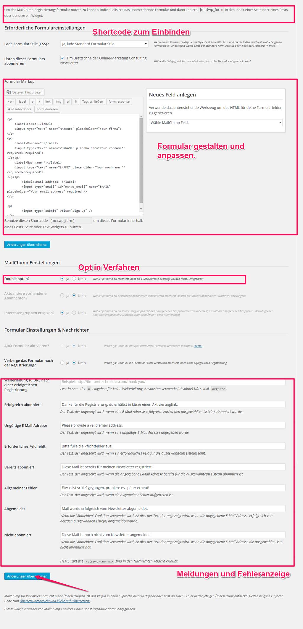 Mailchimp Newsletter Anmeldeformular konfigurieren