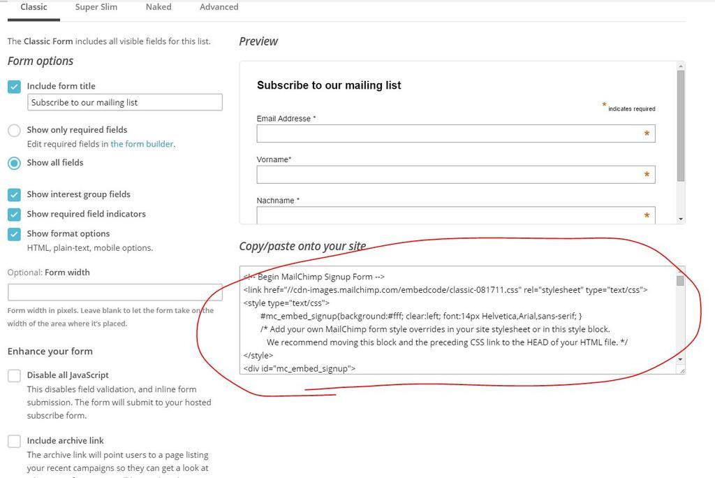 Mailchimp Formular für Newsletter als HTML Code