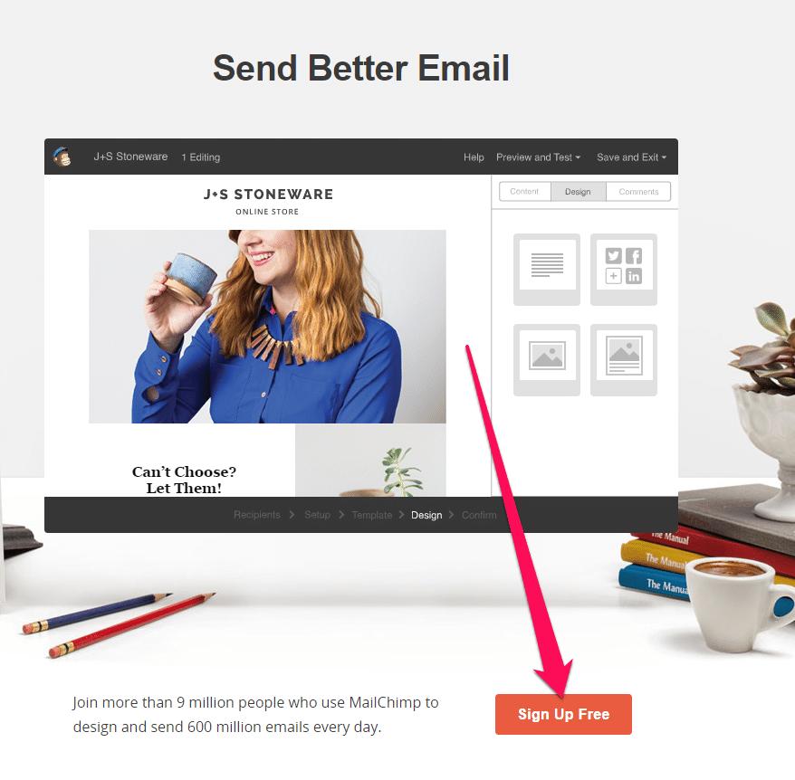 Startseite von Mailchimp mit Anmeldebutton