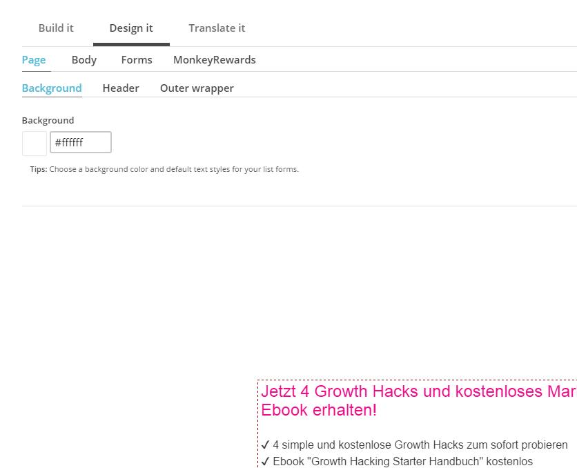 Mailchimp Newsletter Formular designen