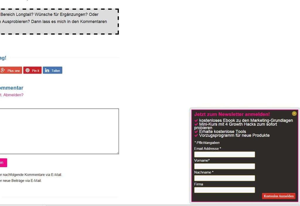Newsletter Wordpress in Scrollbox eingebunden