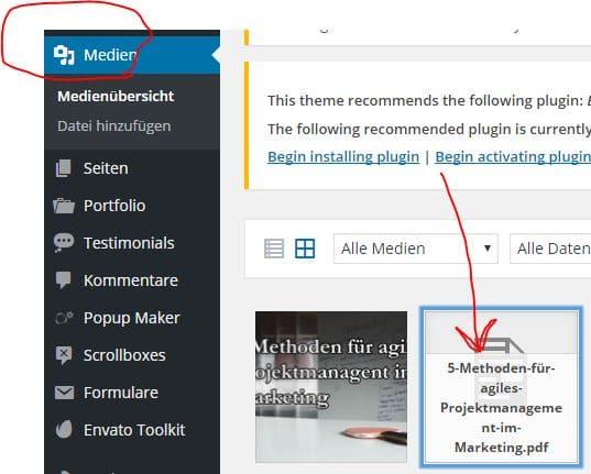 Content Upgrades im Media Bereich von Wordpress