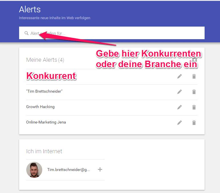 Google Alerts einrichten