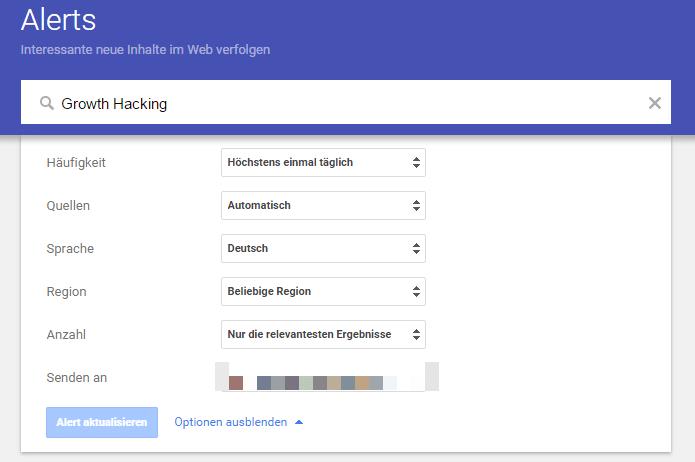 Google Alerts konfigurieren