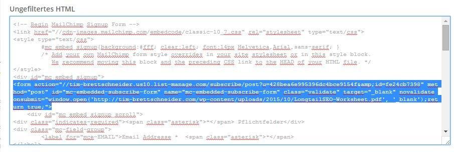 angepasster Mailchimp HTML Code