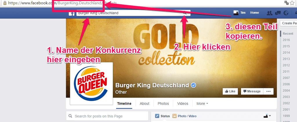Suche nach einer Fanpage auf Facebook
