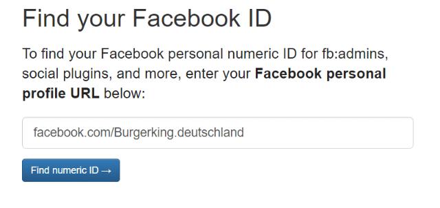 Webseite FindmyFBid mit Facebook URL