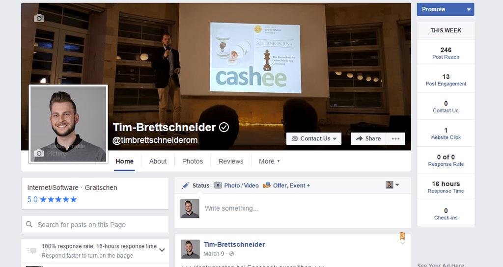 Facebook Fanpage Tim Brettschneider Backend