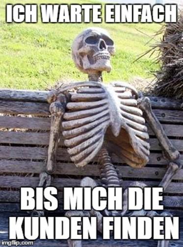 Skelett auf einer Bank mit Meme