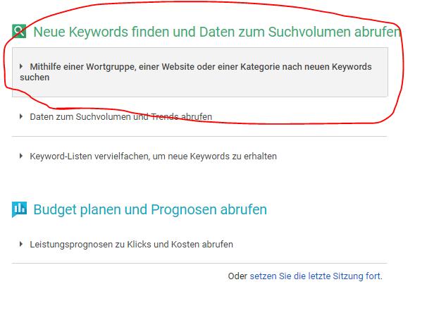 Google Keywordplanner übersichtsseite