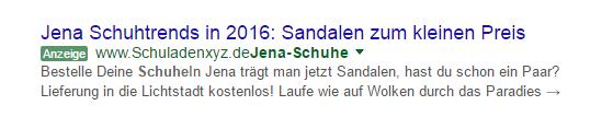 Google Adwords Demo Anzeige für Schuhkauf