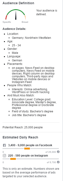 Zielgruppendefinition in Facebook Ads