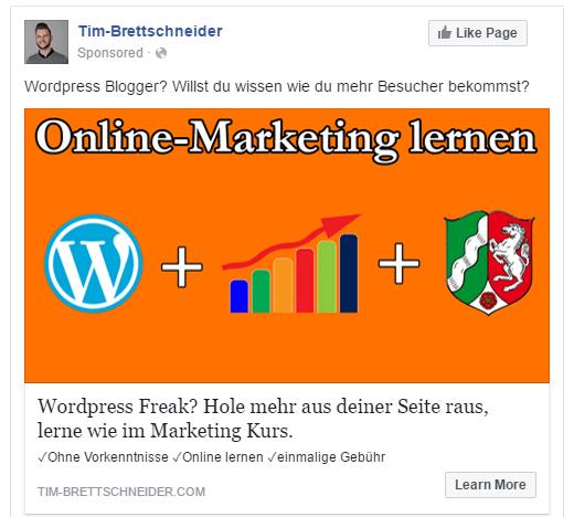 Demo Anzeige in Facebook Ads