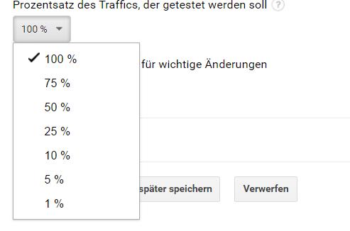 AB Test Analytics Prozentsatz