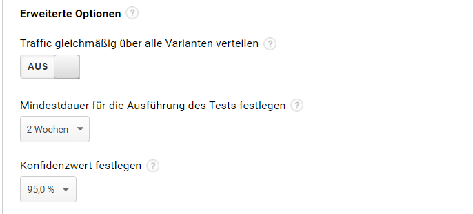 AB Test erweiterte Optionen Google Analytics
