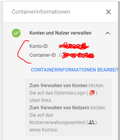 Container Informationen Optimize