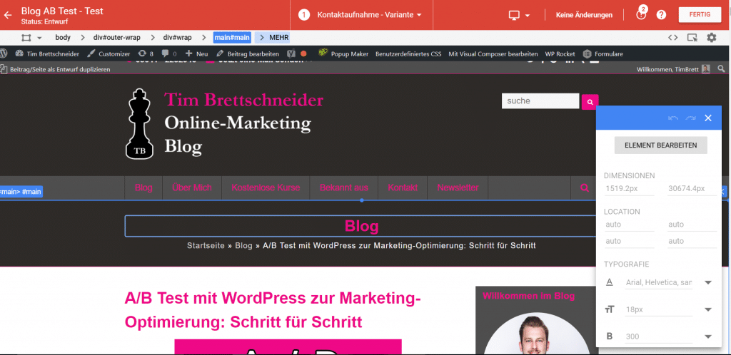 Google Optimize Editorenansicht