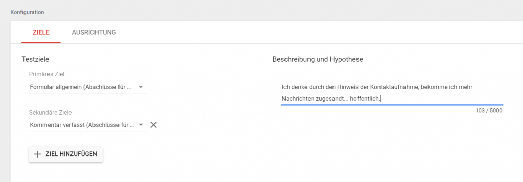 Testkonfiguration Ziele Google Optimize