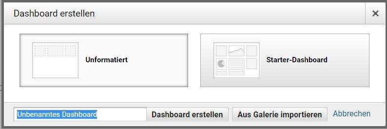 Welches Dashboard erstellen?